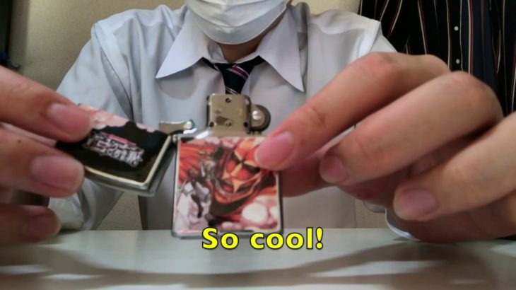 "A lighter having a picture of Japanese Anime""Shingeki no kyozinn(Attack of titan)"""