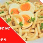 Cold Japanese Udon noodles with pasteurized egg
