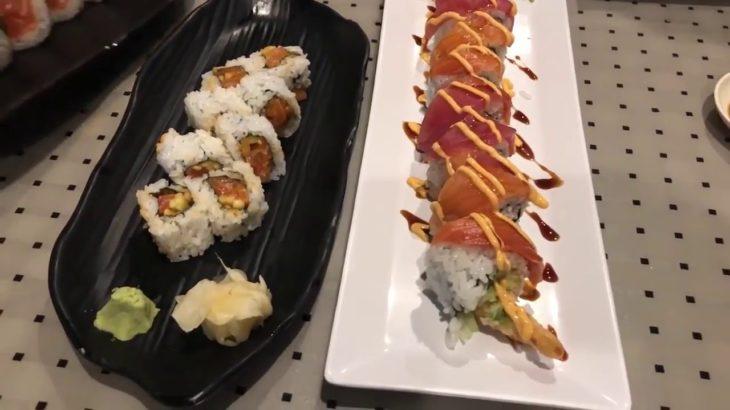 Eating sushi at Misong Japanese Restaurant