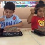 Kids enjoying Japanese Buckwheat noodles