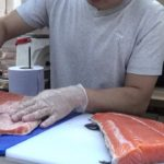 Big Salmon cut for Chirashi Bowl, Sushi in a Bowl. Japanese Street Food of London
