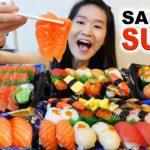 EPIC SUSHI FEAST!! Salmon Sashimi, Nigiri, Sushi Platters   Japanese Food Mukbang w/ Eating Sounds