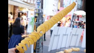 "Japanese Street Food "" Longest Tornado Potato in Japan "" 日本一長いポテト"
