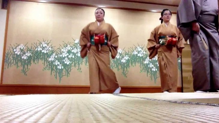 Foreigner students are practicing KABUKI (Japanese traditional dance)in Japan