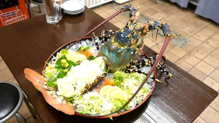 Japanese Street Food-GIANT RAINBOW LOBSTER Sashimi-Japan Seafood