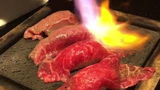 Scorching meat sushi!!beautiful Japanese food.