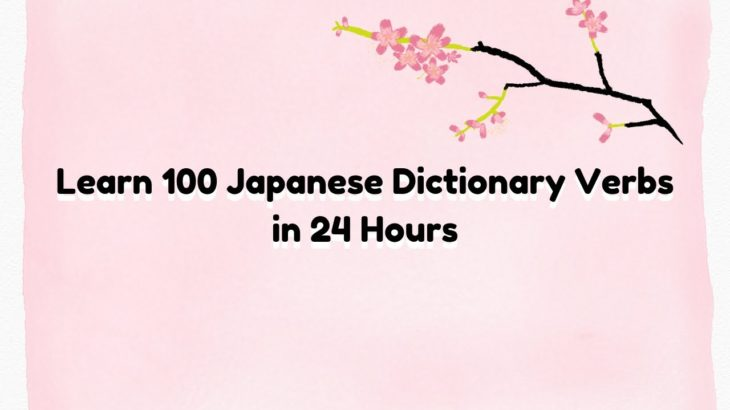 Learn 100  Japanese Dictionary Verbs in 24 Hours