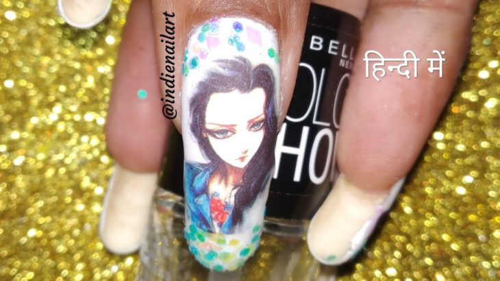 How to apply water decals, nail art (हिंदी में)   Japanese anime water decals nail art.