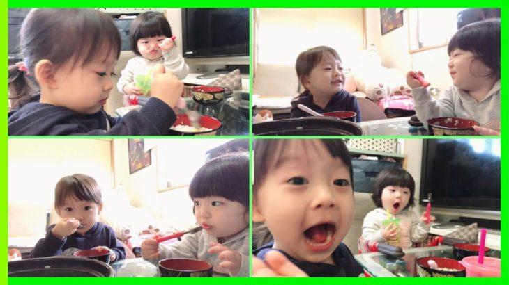 【ちびっこモッパン🍙】食べてくれるのか?!はじめての七草粥🍲【Japanese Culture】