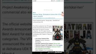 Batman Ninja, Shinkalion Anime Win VFX-Japan Awards