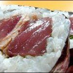 "Eating Japanese food Sushi ""Tosa-maki"" Katsuo sashimi tataki makizushi (ASMR)"