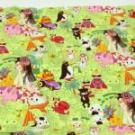 Trans-Pacific Textiles green Japanese anime fabric