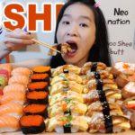 YUMMY SUSHI FEAST!! Salmon & Tuna Nigiri, Sushi Rolls | Japanese Food Mukbang w/ Asmr Eating Sounds