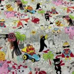 light cream Japanese anime quilting fabric by Trans-Pacific Textiles