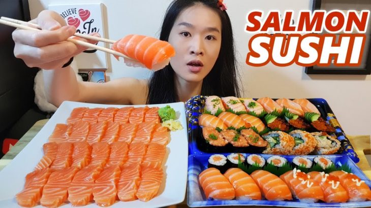 ALL SALMON Sushi & Sashimi Feast!! Sushi Rolls, Nigiri | Japanese Food Mukbang w/ Asmr Eating Sounds