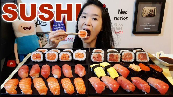 HUGE SALMON & TUNA SUSHI PLATTER! Salmon Sashimi, Sushi Rolls – Japanese Food Mukbang w/ Asmr Eating