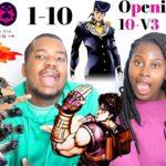 Japanese Anime Music Reaction   JoJo's Bizarre Adventure Endings 1- 10 & Opening 10 V3  