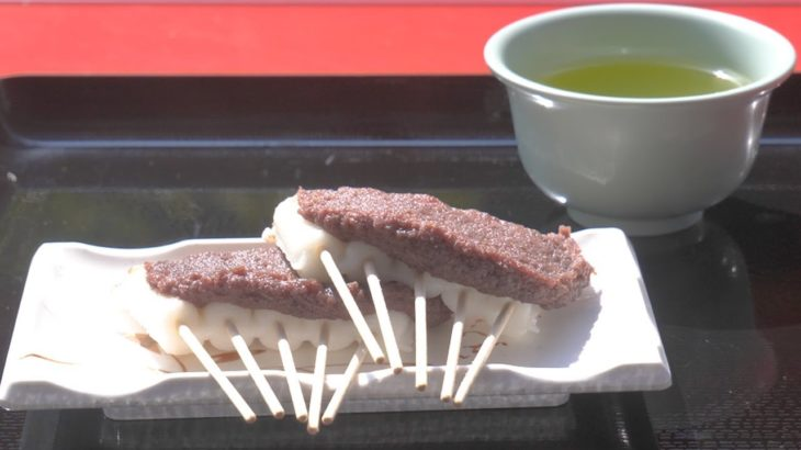 (4K) Japanese Food in Buddhist Temple 2019 – Eating Rice Dumpling with Red Bean Paste