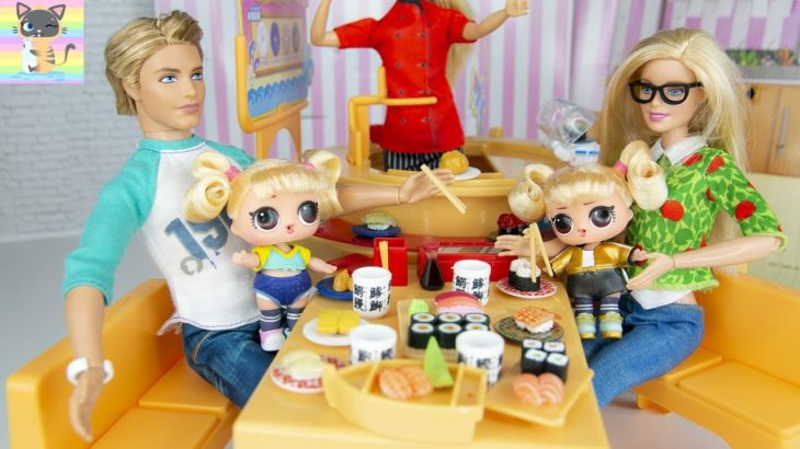 Barbie & Ken Eat Japanese Food at Licca Chan Sushi Restaurant with LOL Hair Goals Twin Toddlers!