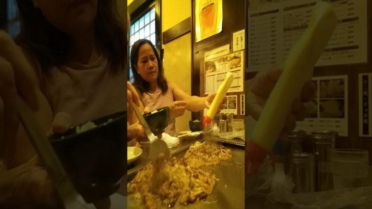 Eating Monjayaki and Cheese Okonomiyaki, japanese food