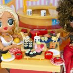 OMG LOL Surprise Dolls SWAG & Royal Bee Eat at Japanese Licca Chan Sushi Restaurant Playset!