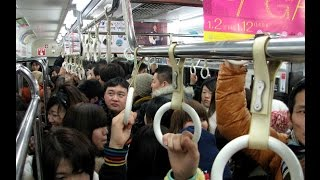Surprising Japanese culture Crowded train of Tokyo in the rush hour