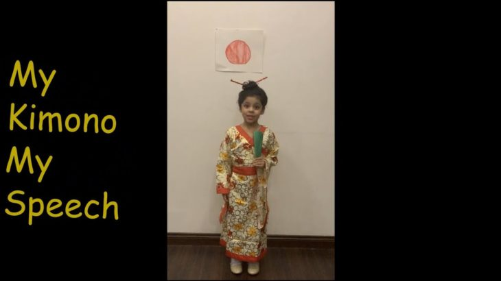English Speech by 5yr Old Cute Girl | Japanese Culture | Kimono Dress