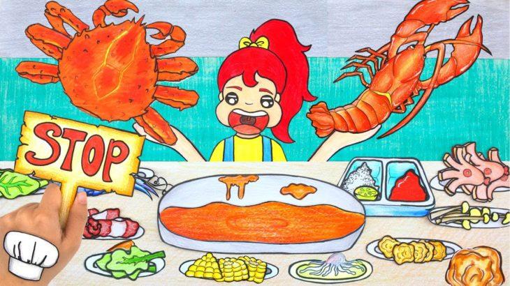 Mukbang KICHI KICHI HOT POT  – Japanese Food Stop Motion Paper Eating ASMR