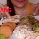 ASMR MUKBANG JAPANESE FOOD KYURI UNAGI ROLL SALMON NORI CHEESE CROQUETTES CRABMEAT SALAD EATING SHOW