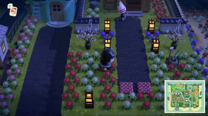 ACNH: Kabuki's Japanese yard at night (he likes it!) 🌸🏮🎑
